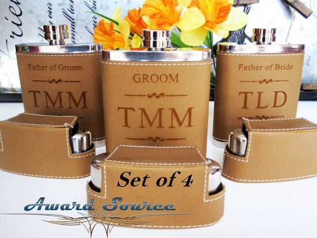 4, Groomsmen Flask: Brown Leather Flask with Shot Glasses and Funnel - Personalized Groomsman Gift, Father of the Groom Gift, Best Man Gift