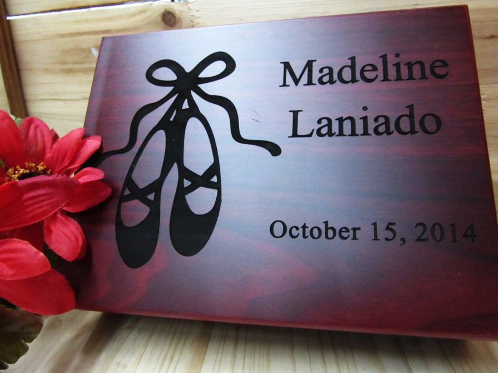personalized baby keepsake gift box in rosewood finish - baby girl ballet slipper keepsake box- free engraving