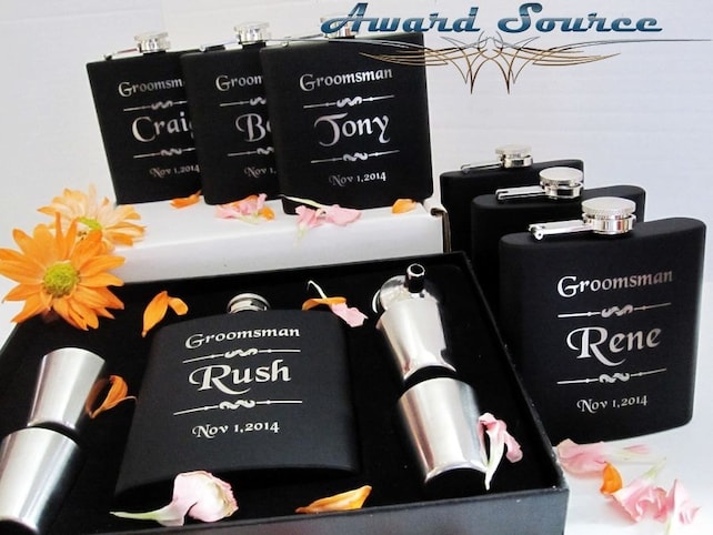 Set Of 4 Flask Gift Box Set Great Groomsman And Bridesmaid Gift