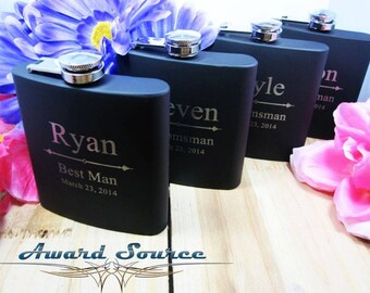 SALE - Personalized Matte Black Flask - Perfect Groomsmen Gifts - Engraved 6oz Black Stainless Steel Flask