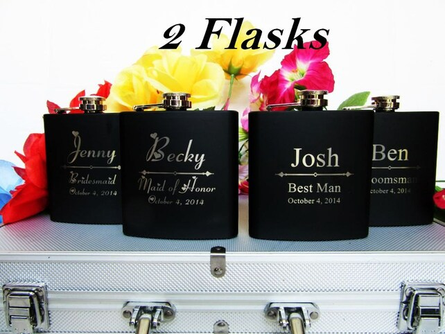 Set Of 2 Personalized Bride And Groom Gift Flasks Great Gift For