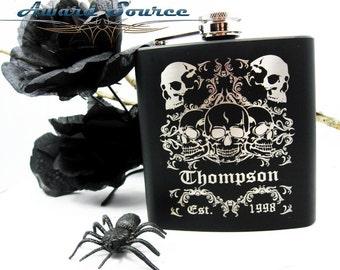Sugar Skull Flask, Day of the Dead Skulls, Dia de los Muertos, Bridesmaid Flask, Edgy Groomsmen, Wedding Gift, Personalized Halloween Flask
