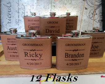 Groom's Father Gift, Leather Flask, Wedding Favours, Father of the Groom Gift, Wedding Accessories, Bridal Party Gift, Groom's Dad Gift