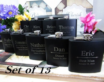 Set of 13 Custom Engraved Wedding Party Favors // Thank You Gifts for Groomsmen and Bridesmaids // Flasks for Men and Women / FREE ENGRAVING