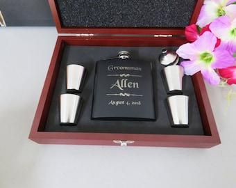 Elegant Best Man Gift - Personalized engraved BEST MAN wedding hip flask gift, black coated 6oz stainless steel personalized flask, Gift Box