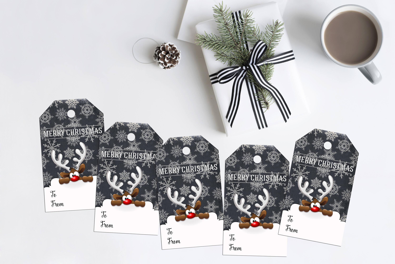 Druckbare Weihnachtsgeschenk Tags späht Rentier | Etsy