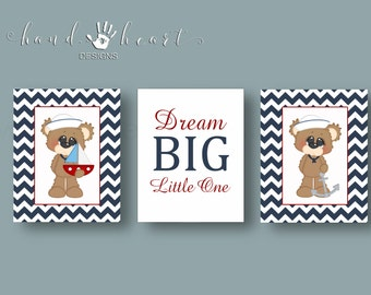 Nursery art printables,nautical nursery,nautical bears,baby boy,cheveron,teddy bears,nursery prints,nautical theme,dream big little one