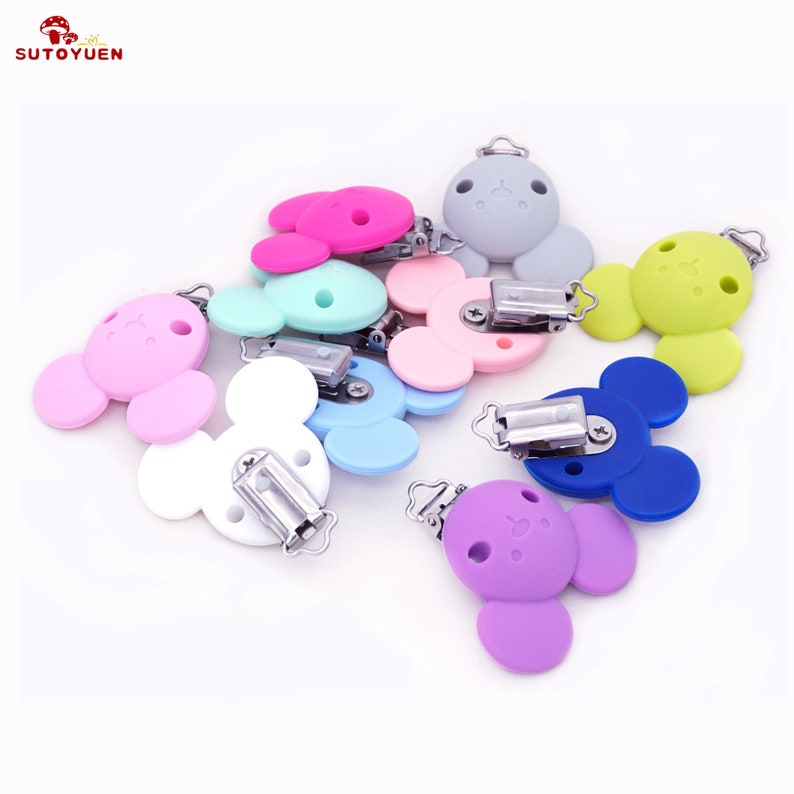 5pcs Mouse Head Shape Baby Pacifier Clip BPA Free Silicone Bead Baby Teether Teething Accessories Pacifier Holder Clip DIY Bead Tool