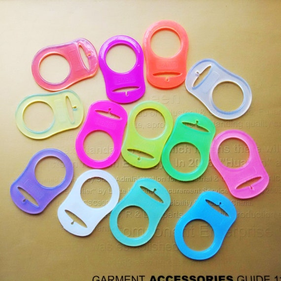 1 Red Silicone Nuk Button MAM Ring Dummy Pacifier Holder Clip Adapter
