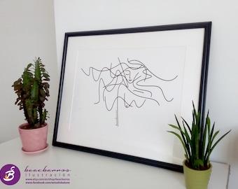 "Female nude line art,  outline woman silhouette, minimal woman drawing "" Dreamer"", minimalist art print, abstract anatomy nude sketch"