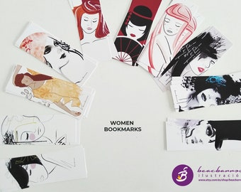 women illustrated bookmark,  woman face art bookmark, girl drawing reading accessory, geisha illustration, women portrait, book lover gift
