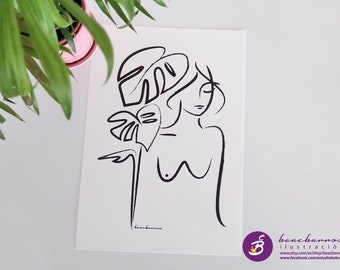monstera and woman drawing, female nude sketch, ink line art monstera print, abstract naked woman, silhouette outline body figure and leaves