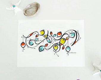 naif fish illustration, abstract geometric folk fish art, sea bathroom decor, maritime ink drawing, Miró inspired color fish nautical art