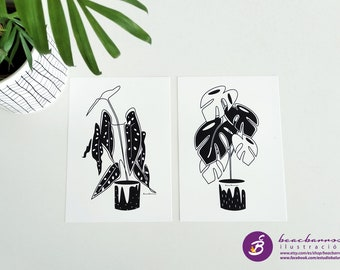 tropical plants print set, monstera line art, silverspot begonia drawing, botanical decor, minimal ink plant sketch, nature art