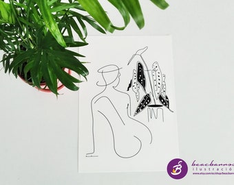 naked back woman and Begonia Silverspot illustration, female nude backwards drawing, tropical plant print, silhouette outline body figure