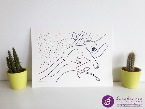 Koala Ilustracion Lamina Infantil Koala Dibujo Tinta Negra Etsy