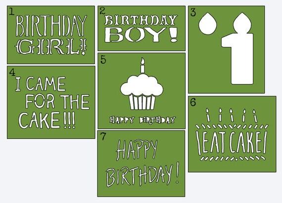 f6dd5b7d1 Birthday Stencils - Onesie Decorating/Painting - Baby's First Birthday -  Photo Prop Onesie