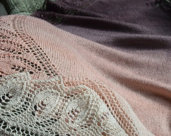 Hand Knit Lace Leaf Shawl gradating charcoal to pastel pink
