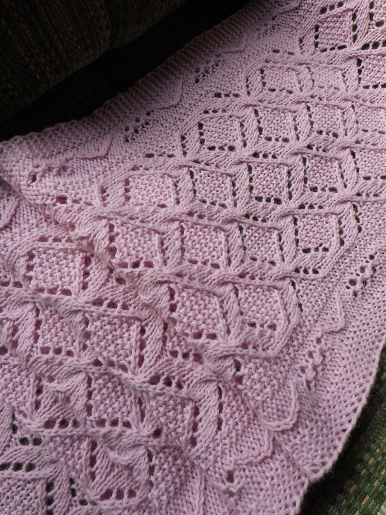 Knit Scarf Pattern Cables And Lace Worsted Weight Yarn Etsy