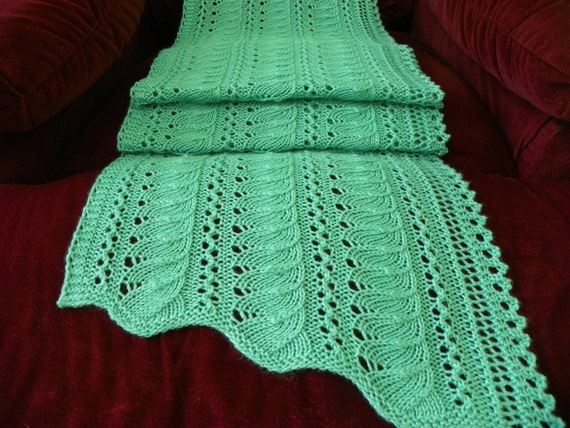 Knitting Pattern For Lace Scarfshawl Gentle Etsy