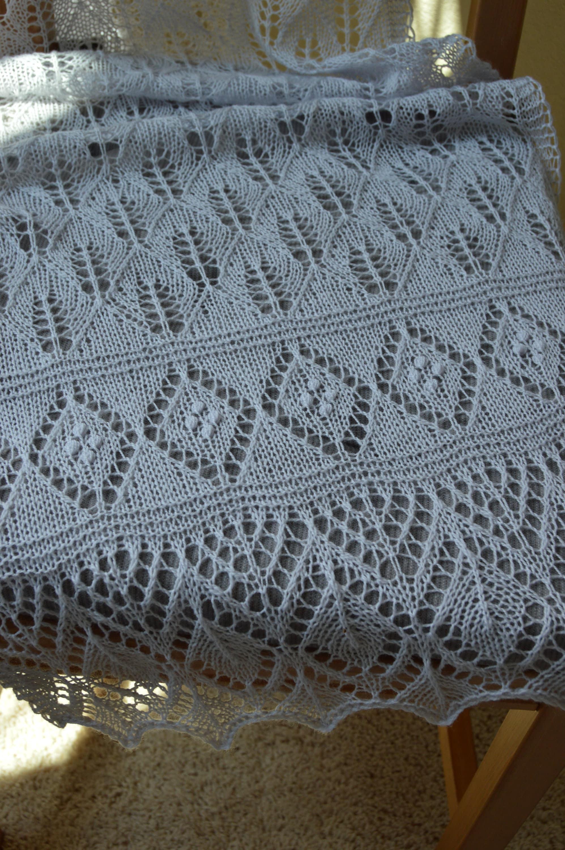 Estonian Lace Shawl Hand Knit In Light Gray
