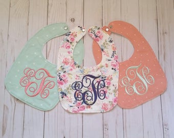 Baby girl bibs, set of three bibs, peach, floral, and mint, monogrammed girl bib