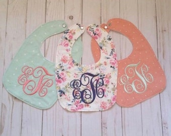 Baby girl bibs, set of three bibs, peach, floral, and mint, monogrammed girl bib