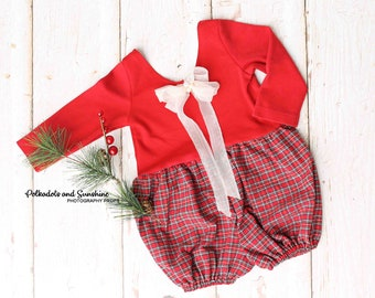 CLEARANCE 9-12 Month Tartan Plaid First Christmas Romper Sitter Prop Bubble Shorts Toddler Girl Prop Milestone Prop Cake Smash Outfit RTS