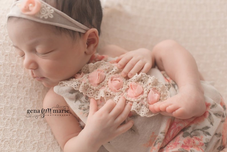 Newborn Girl Photo Prop Newborn Posing Pillow Newborn Pink Romper Tieback and Pillow Set Floral Photo Prop Ready to Ship Baby Prop