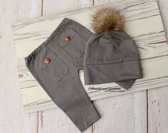Newborn boy prop Faux Fur Pom pom hat and pants photo prop Brown knit boy prop Newborn boy prop outfit Beanie hat Slouchy hat