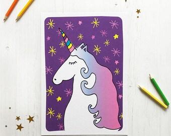 A4 Ursula Unicorn Print