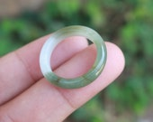 Jade Ring White Mixed Green US Size 7.25 NRL028 Jadeite Ring Simple Jade Ring Jade Band Jadeite Band Green Jade Green Jadeite Natural Ring