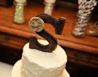 rustic cake topper letter s with or without pearl or rhinestone
