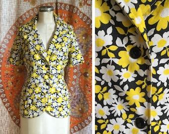 SALE! 70s Vintage Mod Floral Short Sleeve Jacket Large XL