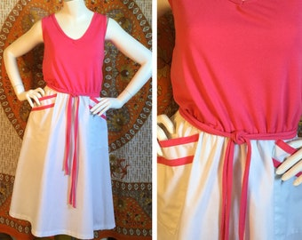 SALE! 80s Vintage Toni Todd Pink and White Simple Sundress Large XL