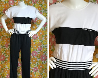 80s 90s Vintage Black White Jumpsuit Medium Large