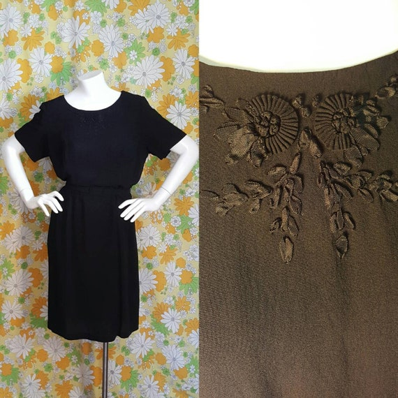 60s Vintage Black Rayon Dress Floral Large XL Love