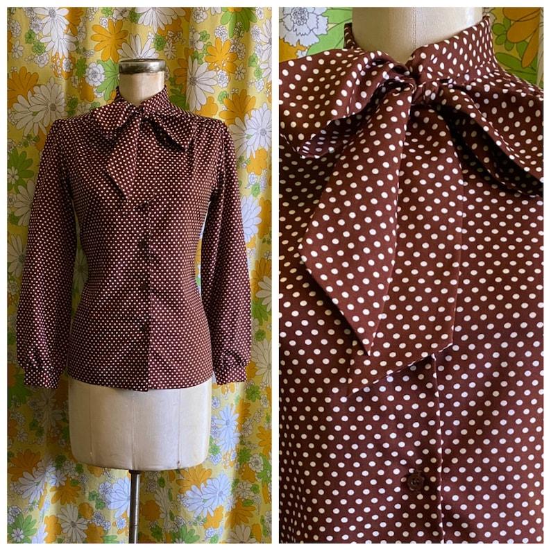 70s 80s Vintage Brown Polka Dot Pussy Bow Secretary Long Sleeve Blouse Medium Large Love Street Salvage