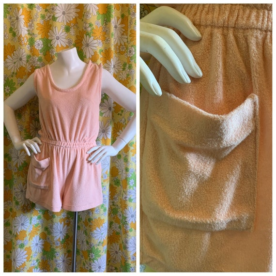 80s 90s Vintage Peach Terrycloth Romper Jumper Med