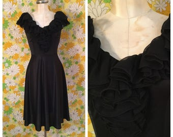 SALE! 70s 80s Vintage Polyester Black Ruffle Dress Small Medium