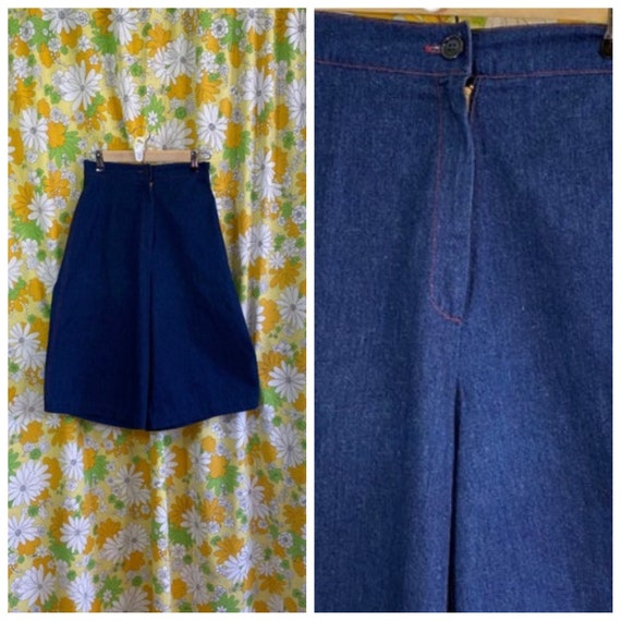 70s 80s Back Gamin Denim Gaucho Culottes Pants Sho
