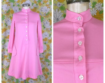 SALE! 70s Vintage Pink Tent Dress With Pockets Small XS