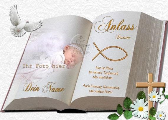 Tortenaufleger Zur Taufe Buch Mit Oder Ohne Foto