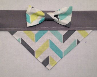 Dog Bandana - Teal and Grey Chevron with Bow