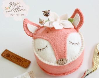 FIFI FOX PDF Pin Cushion Sewing Pattern - 'Fifi Fox' instant download sewing pattern for wool felt pincushion