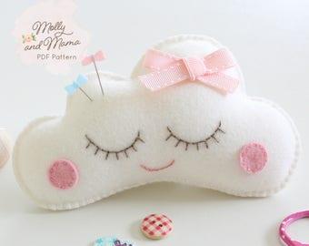 PDF Felt 'Sleepy Cloud' Pin Cushion Softie / Toy Pattern and Template