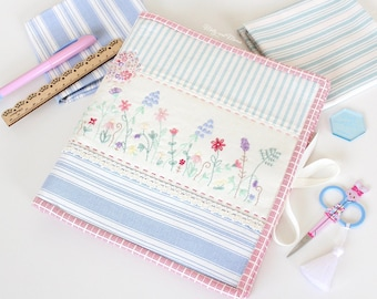 Simple Sewing Folder Pattern - PDF download for a needle book or sewing storage pouch that holds sewing supplies, thread, scissors, hoops.