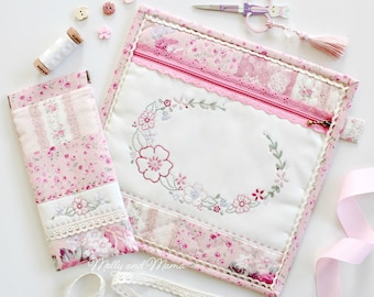 SPRING FLING POUCH Pattern - pdf download for hand embroidered, hand quilted, lace zipper pouch and flex frame sunglasses case
