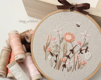 PDF PATTERN 'Nan's Garden' - Floral Hand Embroidery Design and Template for Stitchery, With Hoop Art Display Instructions