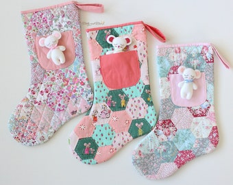 Night Before Christmas STOCKING Sewing Pattern - PDF download for English paper pieced stocking with cute felt mouse in pocket